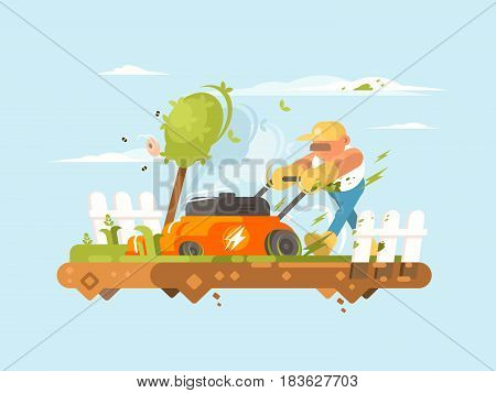 Man mowing grass with electronic lawn mower. Vector flat illustration