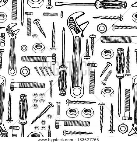 Building Tools. Hand Drawn Vector Pattern