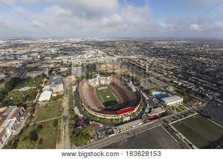 Los Angeles, California, USA - April 12, 2017:  Aerial view of the historic Coliseum stadium near the University of Southern California.