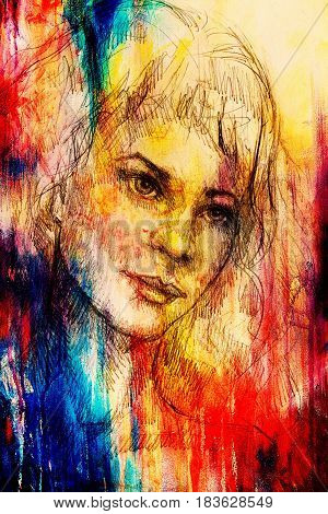 handrawn portrait of young woman on background with structured graphic effect