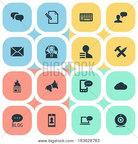 Vector Illustration Set Of Simple Blogging Icons. Elements Profile, Man Considering, Post And Other Synonyms Web, Laptop And Loudspeaker.