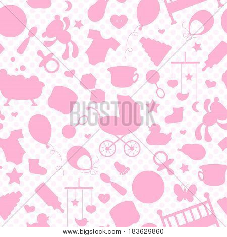Seamless pattern on the theme of childhood and newborn babies baby accessories accessories and toys the outlines of objects pink icons on a white background with pink polka dots