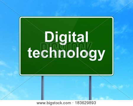 Information concept: Digital Technology on green road highway sign, clear blue sky background, 3D rendering