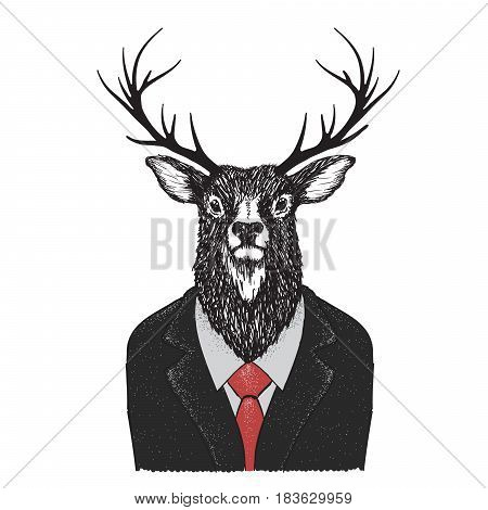 Serious deer like a human.Dressed in jacket with red tie.Vector illustration