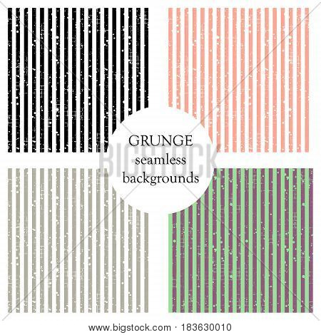 Set Of Seamless Vector Patterns. Geometric Striped Backgrounds With Vertical Lines. Grunge Texture W