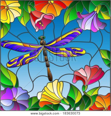 Illustration in stained glass style with bright dragonfly against the sky foliage and flowers