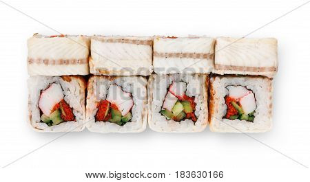 Sushi japanese restaurant delivery. Set of unagi eel rolls isolated on white closeup, top view. Healthy food
