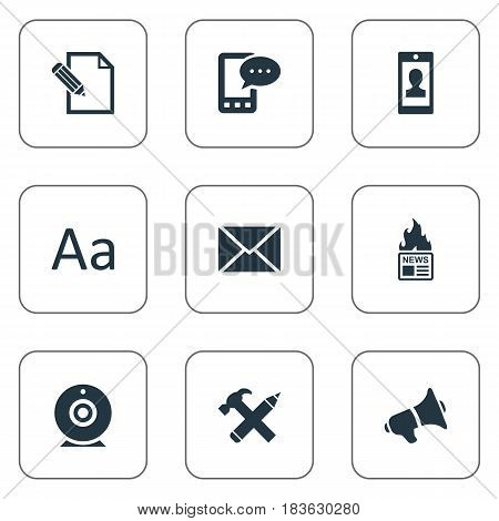 Vector Illustration Set Of Simple User Icons. Elements Cedilla, E-Letter, Document And Other Synonyms Missive, Typography And Web.