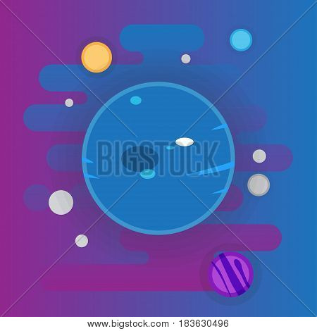 Uranus icon illustration, planet in space, flat style