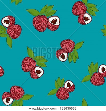 Seamless Pattern of Lichee, Exotic Fruit on Azure Background, Vector Illustration