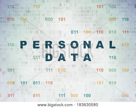 Information concept: Painted blue text Personal Data on Digital Data Paper background with Binary Code