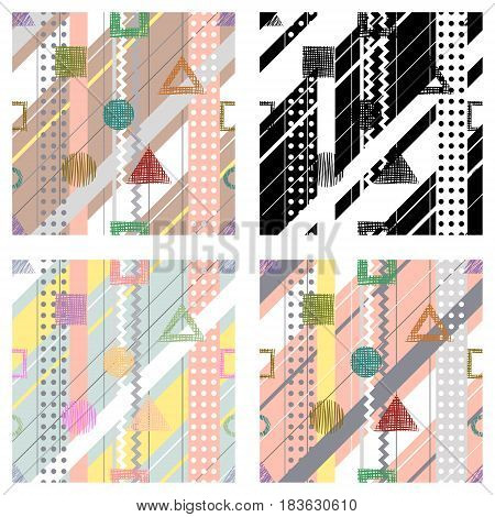 Set Of Seamless Vector Geometrical Abstract Patterns With Lines, Dots, Diagonal Stripes. Endless Bac