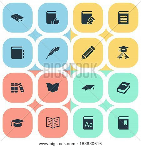 Vector Illustration Set Of Simple Education Icons. Elements Notebook, Reading, Encyclopedia And Other Synonyms Pen, Book And Feather.
