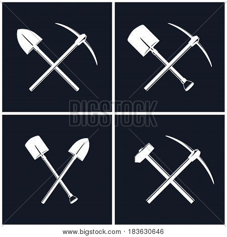 White Tools for Excavation and for Percussion Works Isolated on Black Background, Crossed Shovel and Pickaxe, Crossed Pickaxe and Sledgehammer, Mining Industry and Construction, Vector Illustration