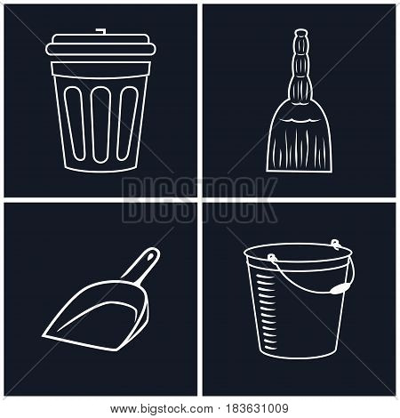 Icons Bucket Dustbin and Broom ,White Cleaning Linear Icons on Black Background, Vector Illustration