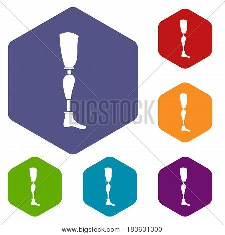 Prosthesis leg icons set hexagon isolated vector illustration