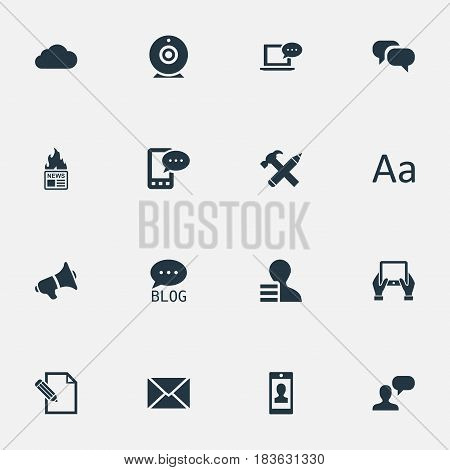 Vector Illustration Set Of Simple Blogging Icons. Elements Gazette, Overcast, Document And Other Synonyms Profit, Site And Blog.