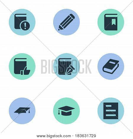 Vector Illustration Set Of Simple Knowledge Icons. Elements Pen, Tasklist, Recommended Reading And Other Synonyms Sketchbook, Hat And Graduation.