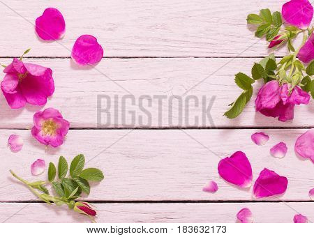 the pink roses on old wooden table