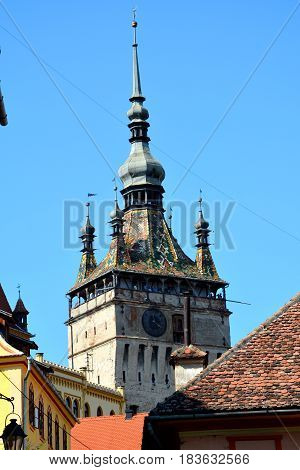 Tower. Medieval city Sighisoara. Urban landscape in the downtown of the medieval city Sighisoara, Transylvania.