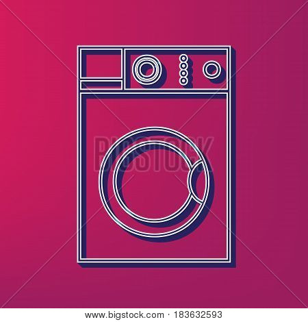 Washing machine sign. Vector. Blue 3d printed icon on magenta background.