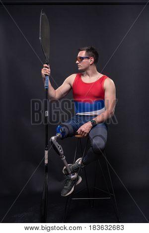 Man Athlete Sporstman Canoe Kayak Paddle, Prosthetic Leg