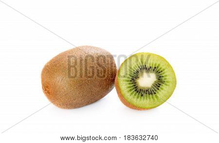 Ripe whole kiwi fruit and half kiwi fruit isolated on white background