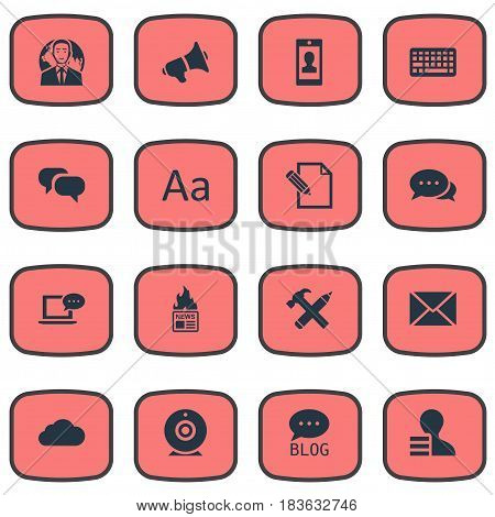Vector Illustration Set Of Simple Newspaper Icons. Elements International Businessman, Overcast, Gazette And Other Synonyms Speaker, Negotiation And Message.