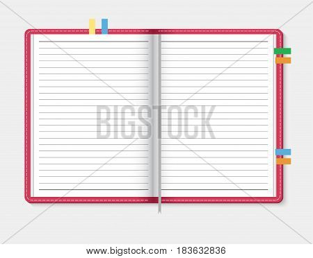 Open notebook on light gray background, vector illustration