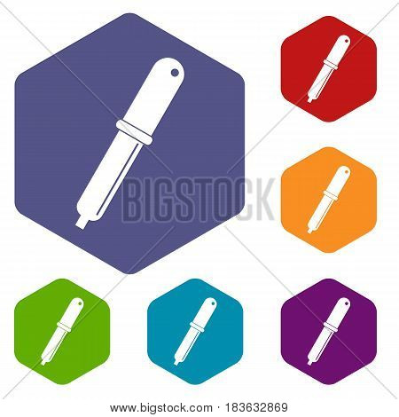 Color picker pipette icons set hexagon isolated vector illustration
