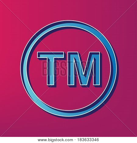 Trade mark sign. Vector. Blue 3d printed icon on magenta background.