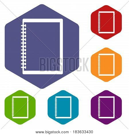 Sketchbook icons set hexagon isolated vector illustration