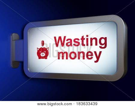 Money concept: Wasting Money and Money Box With Coin on advertising billboard background, 3D rendering