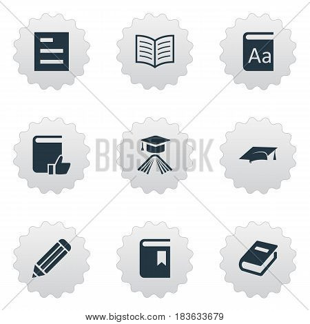 Vector Illustration Set Of Simple Knowledge Icons. Elements Graduation Hat, Recommended Reading, Notebook And Other Synonyms Favored, Writing And Reading.