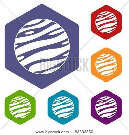 Big planet icons set hexagon isolated vector illustration
