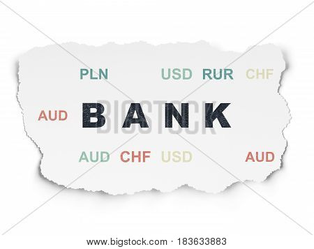 Money concept: Painted black text Bank on Torn Paper background with  Currency