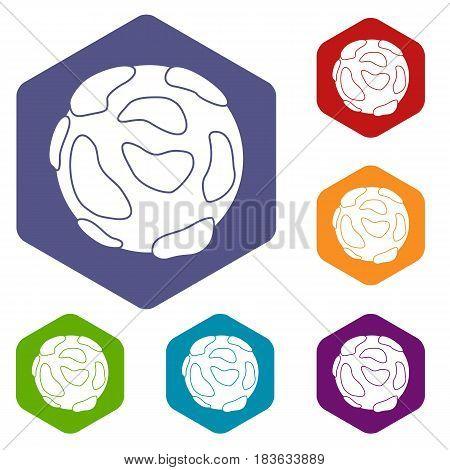 Beautiful planet icons set hexagon isolated vector illustration