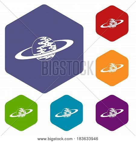 Saturn icons set hexagon isolated vector illustration
