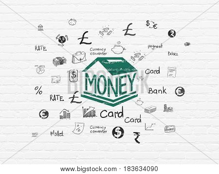 Money concept: Painted green Money Box icon on White Brick wall background with  Hand Drawn Finance Icons