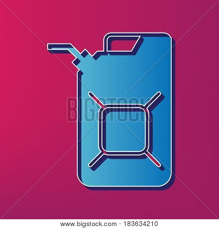 Jerrycan oil sign. Jerry can oil sign. Vector. Blue 3d printed icon on magenta background.