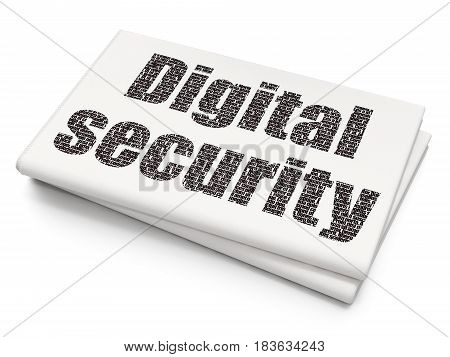 Safety concept: Pixelated black text Digital Security on Blank Newspaper background, 3D rendering