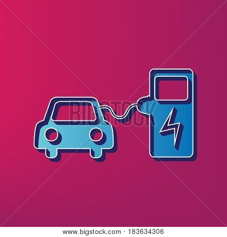 Electric car battery charging sign. Vector. Blue 3d printed icon on magenta background.
