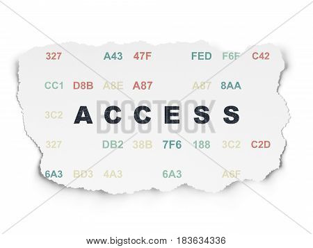 Privacy concept: Painted black text Access on Torn Paper background with  Hexadecimal Code