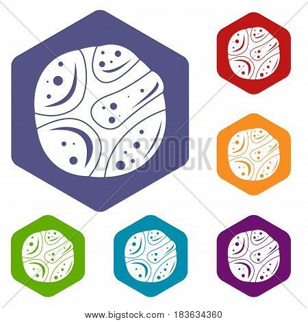 Deserted planet icons set hexagon isolated vector illustration