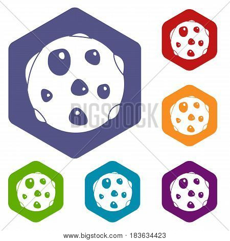 Alone planet icons set hexagon isolated vector illustration