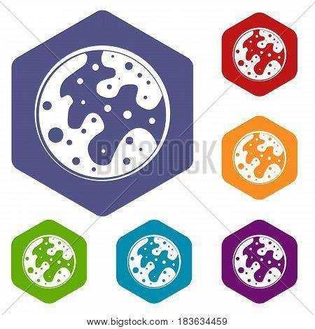 Mars icons set hexagon isolated vector illustration