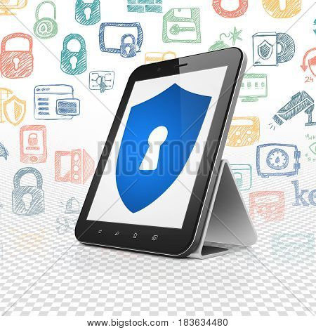 Privacy concept: Tablet Computer with  blue Shield With Keyhole icon on display,  Hand Drawn Security Icons background, 3D rendering