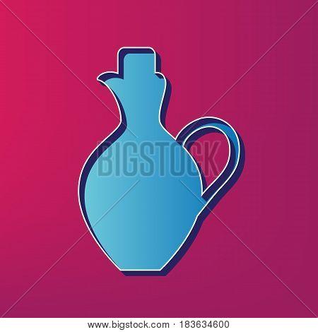 Amphora sign illustration. Vector. Blue 3d printed icon on magenta background.
