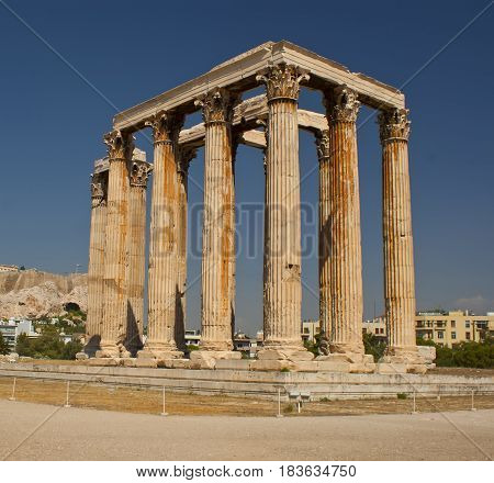 The ancient ruined Temple of Zeus in Athens. Ancient architecture of Greece.