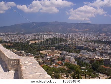 Panorama of the city of Athens in Greece overlooking the Temple of Zeus